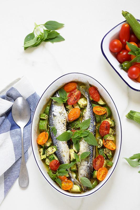 Maquereaux rotis courgettes tomates facile bon marche