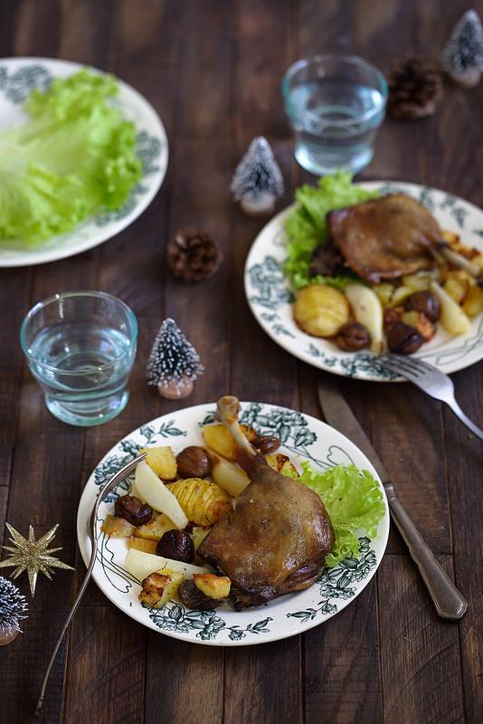 Cuisses de canard confit pommes de terre marrons recette fêtes rapide facile
