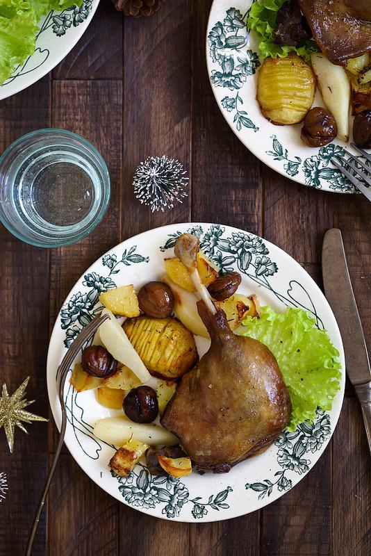 Canard confit aux pommes de terre et marrons recette express