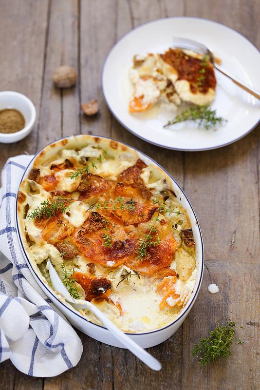 Recette gratin de pommes de terre et butternut