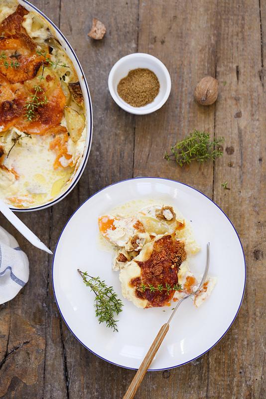 Gratin de pommes de terre et courge recette végétarienne