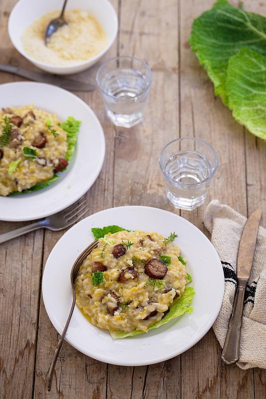 Risotto chou saucisse recette italienne