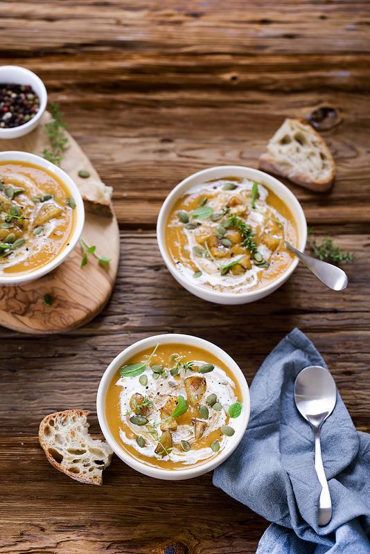 Soupe châtaignes et courge recette facile