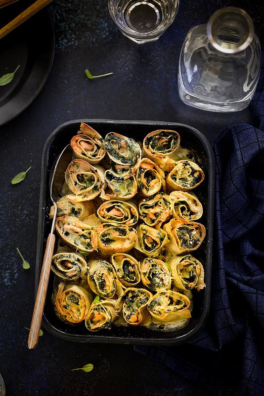 Roulés crêpes saumon épinards recette facile et rapide