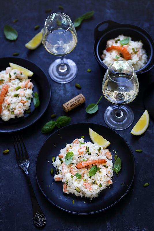 Recette facile risotto aux crevettes accordée avec un vin