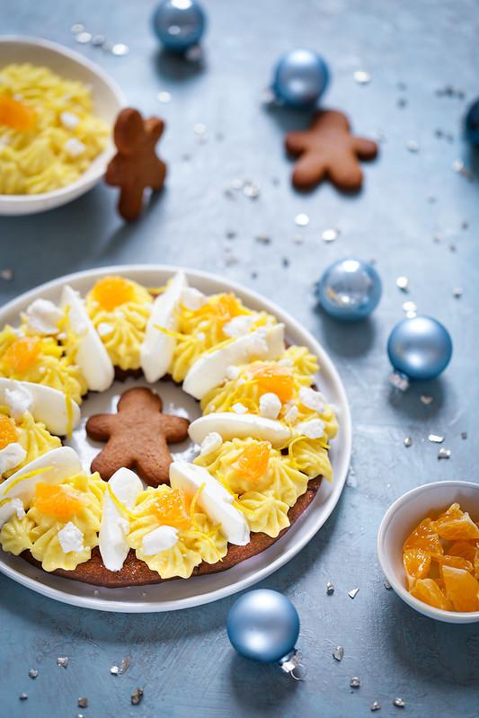 Tarte couronne de Noël aux épices et au citron