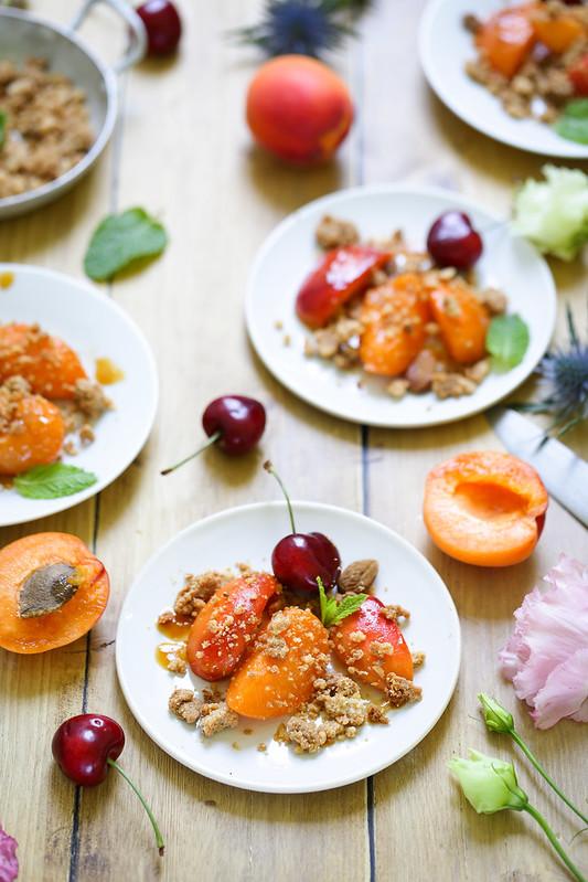 Abricots sautes crumble amandes recette facile