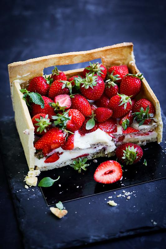 Gateau fraises forme cagette recette video