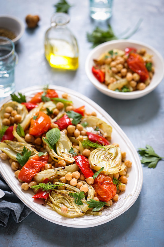 Salade fenouil pois chiches tomates roties