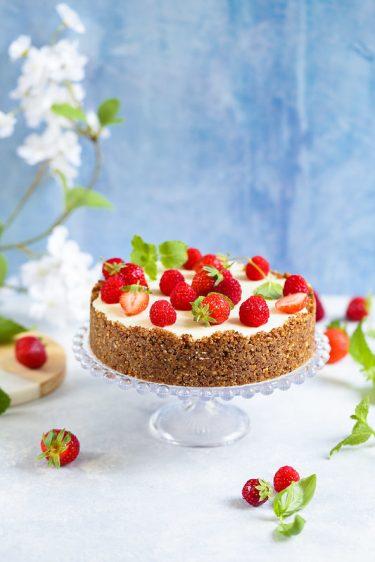Cheesecake sans cuisson ricotta chocolat blanc sans gluten