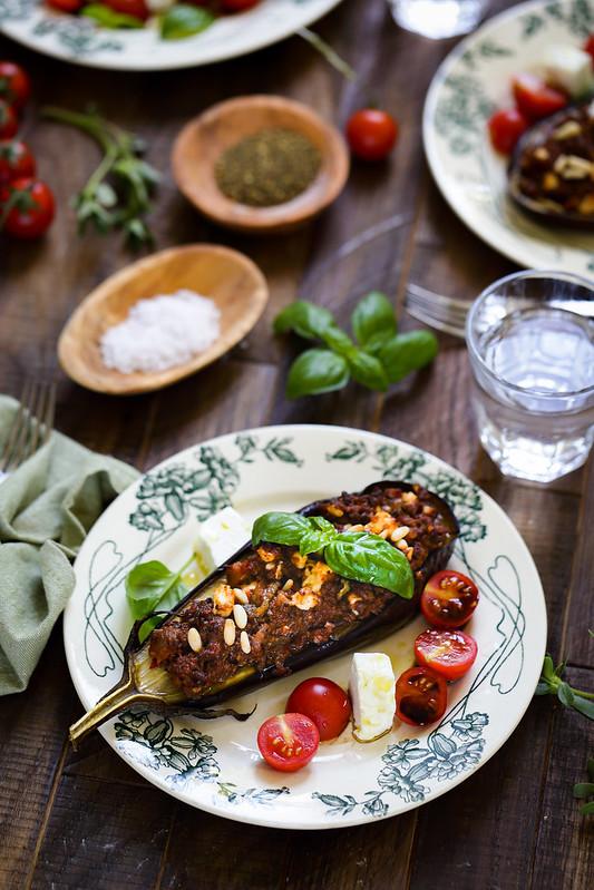 Aubergines farcies viande feta recette facile