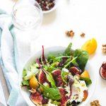 Salade mesclun figues chevre