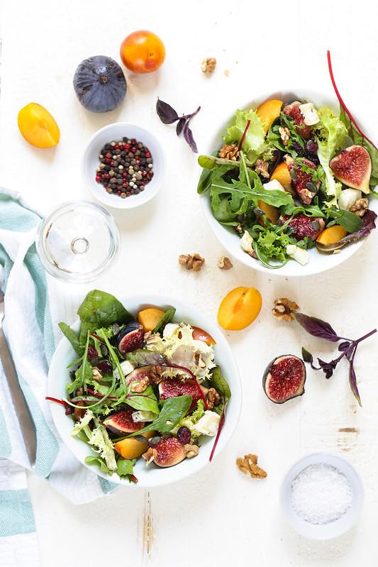 Salade figues chevre vegetarienne