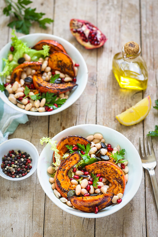 Salade haricots blancs potimarron roti recette