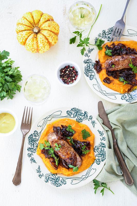 Saucisse puree courge butternut confit oignon recette