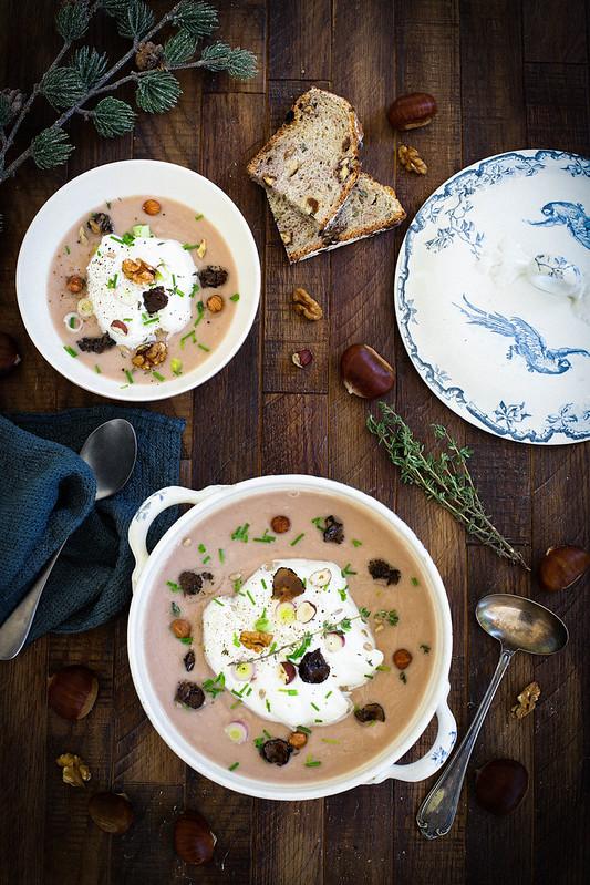 Soupe Marrons facon cappucino recette fetes