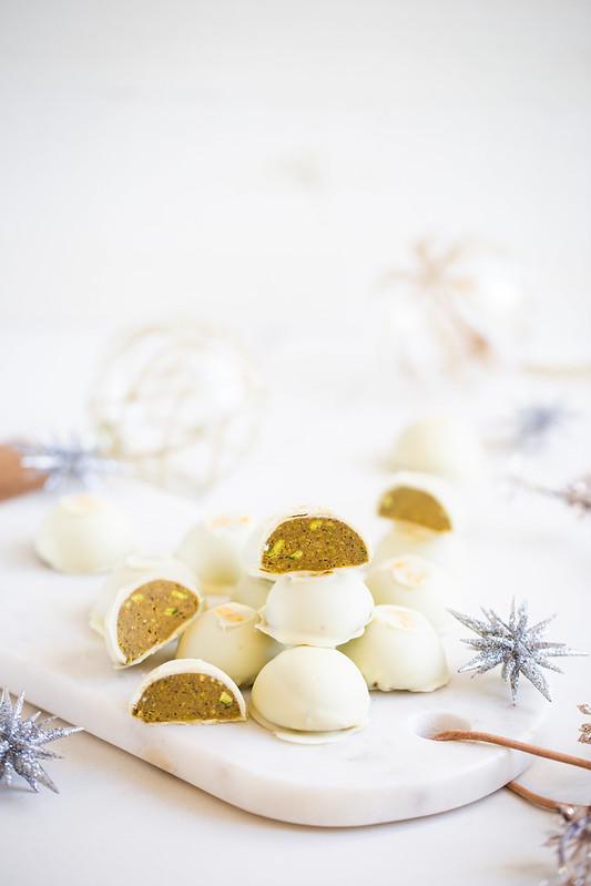 Chocolats blancs praline pistache