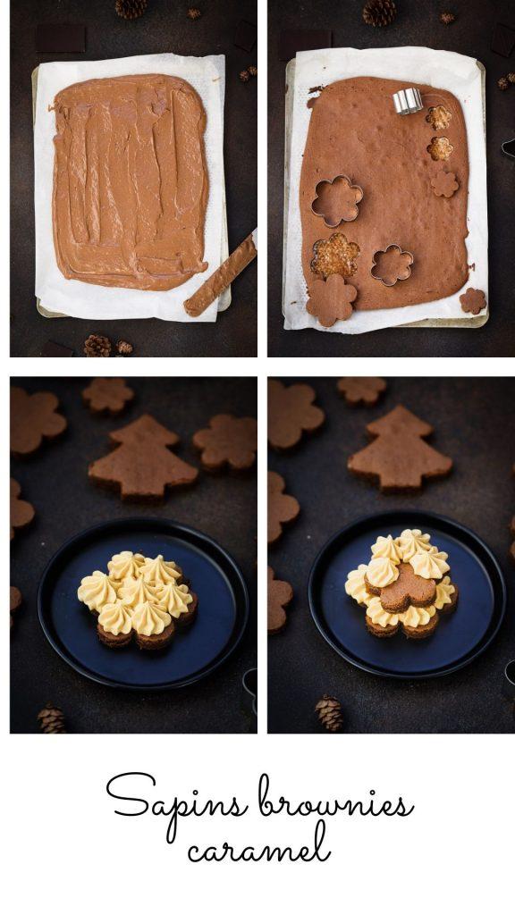 Sapins brownie caramel recette facile pas a pas