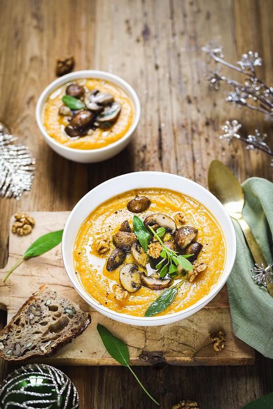 veloute patate douce panais champignons sautes recette legere