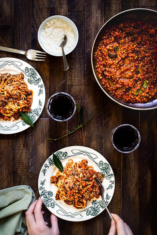 Bolognaisqe vegetarienne lentilles champignons recette facile