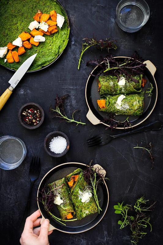 Crepes vertes epinards chevre courge recette vegetarienne