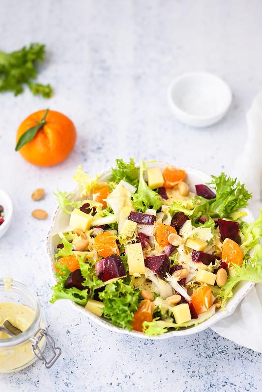 salade frisee betterave endive fromage recette vegetarienne