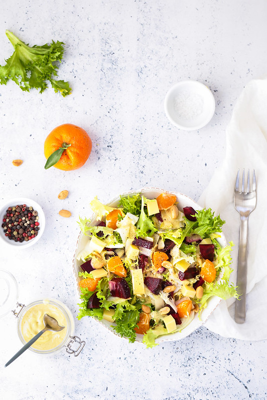 salade frisee betterave fromage recette vegetarienne facile