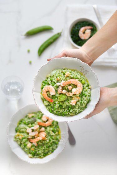Risotto petits pois crevettes epinards recette facile legere