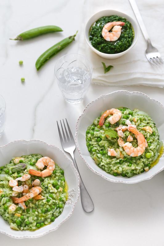 Risotto crevettes epinards petits pois recette italienne rapide