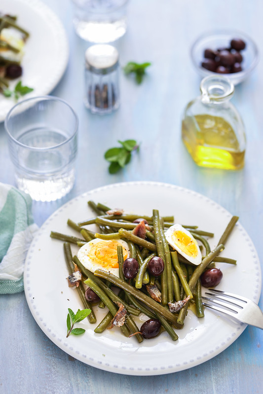 salade italienne haricots verts olives oeuf