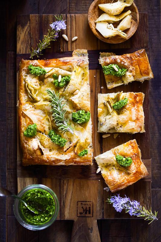 tarte fine artichauts brie salsa verde