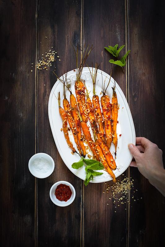 carottes roties piment noisettes recette vegan