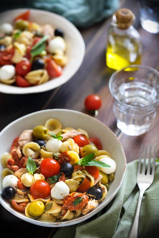 salade pates tomates mozzarella olives thon italienne