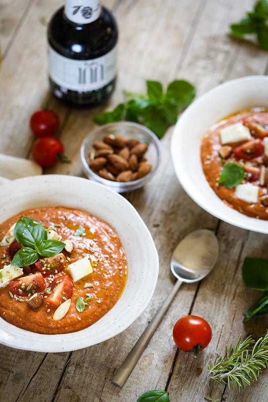 soupe froide tomates roties mozzarella