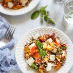 salade quinoa noir tomates mozzarella peche