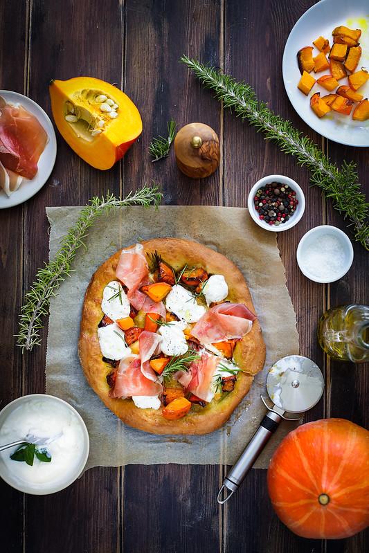 pizza potiron burrata jambon recette video facile