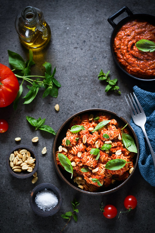 pate sauce tomates roties recette